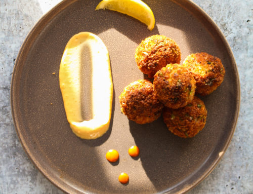 "Fried Wolffish ""Crab"" Cake Balls"